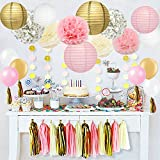 40 pc, Ivory, Pink and Gold Party Decorations.