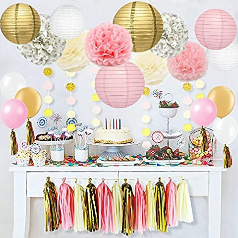 40 pc, Ivory, Pink and Gold Party Decorations. - Party Supplies