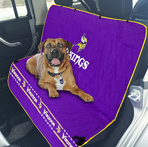 Pets First NFL CAR SEAT Cover – Minnesota Vikings Waterproof, Non-Slip Best Football Licensed PET SEAT Cover for Dogs & Cats. Review