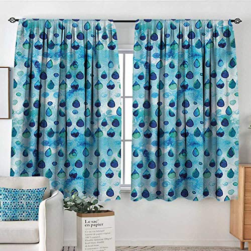 Mozenou Navy and Teal Custom Curtains Abstract Blue Watercolor Drops Aquarelle Art Rain Teardrop Quirky Customized Curtains 55