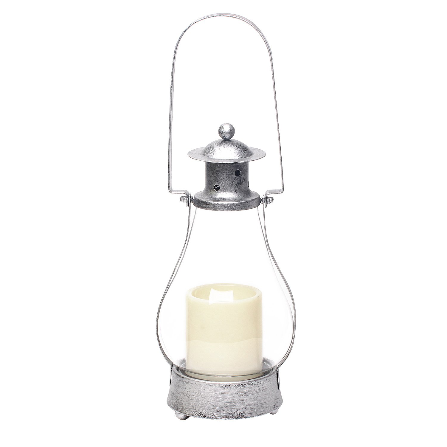 Battery Operated Metal and Glass House Lantern with 3x4 inches Led Plastic Candle, 15.35 inch, Antique silver DFL JT13011
