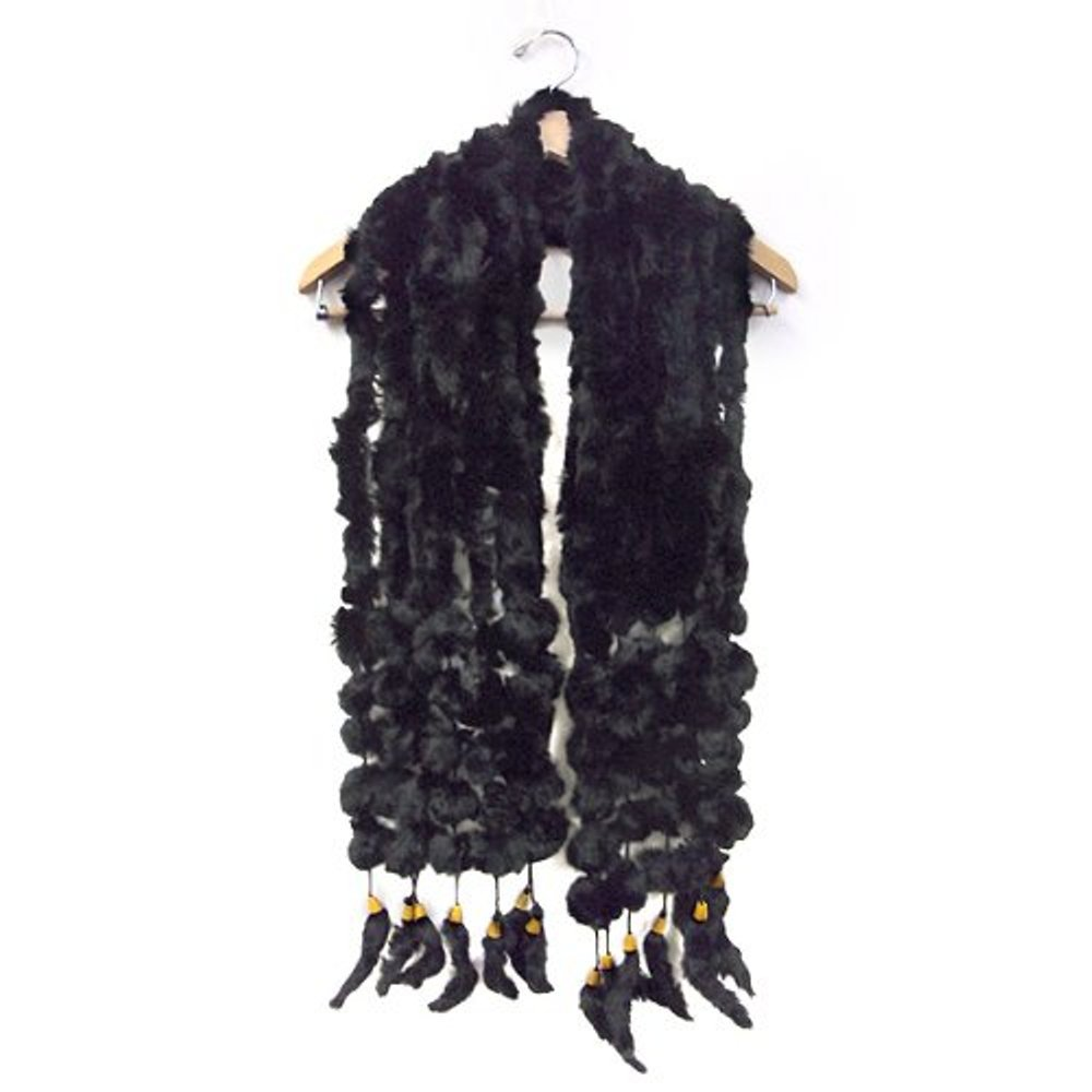 Angora/Rabbit Seven Row and Fur Pom Balls Scarf Shawl Shrug Wrap--Black