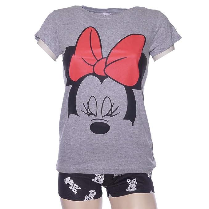 813b322f146e51 Schlafanzug Damen Pyjama kurz Disney Minnie Mouse Shorty Set - Grau/Schwarz  (L)