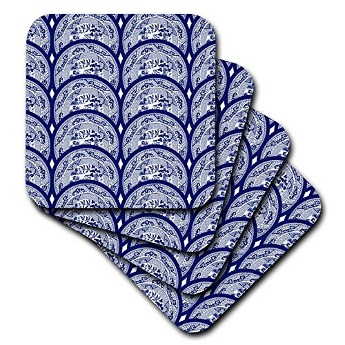 3dRose Russ Billington Patterns - Overlapping Willow Pattern Plates in Blue and White - set of 4 Ceramic Tile Coasters (cst_294407_3)