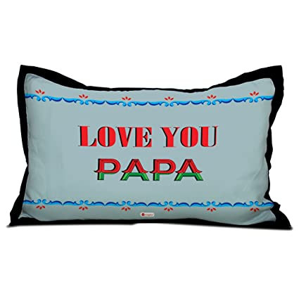 Indigifts Father Birthday Gifts Love You Papa Quote Ethnic Border Design Blue Pillow Cover 17x27 Inches