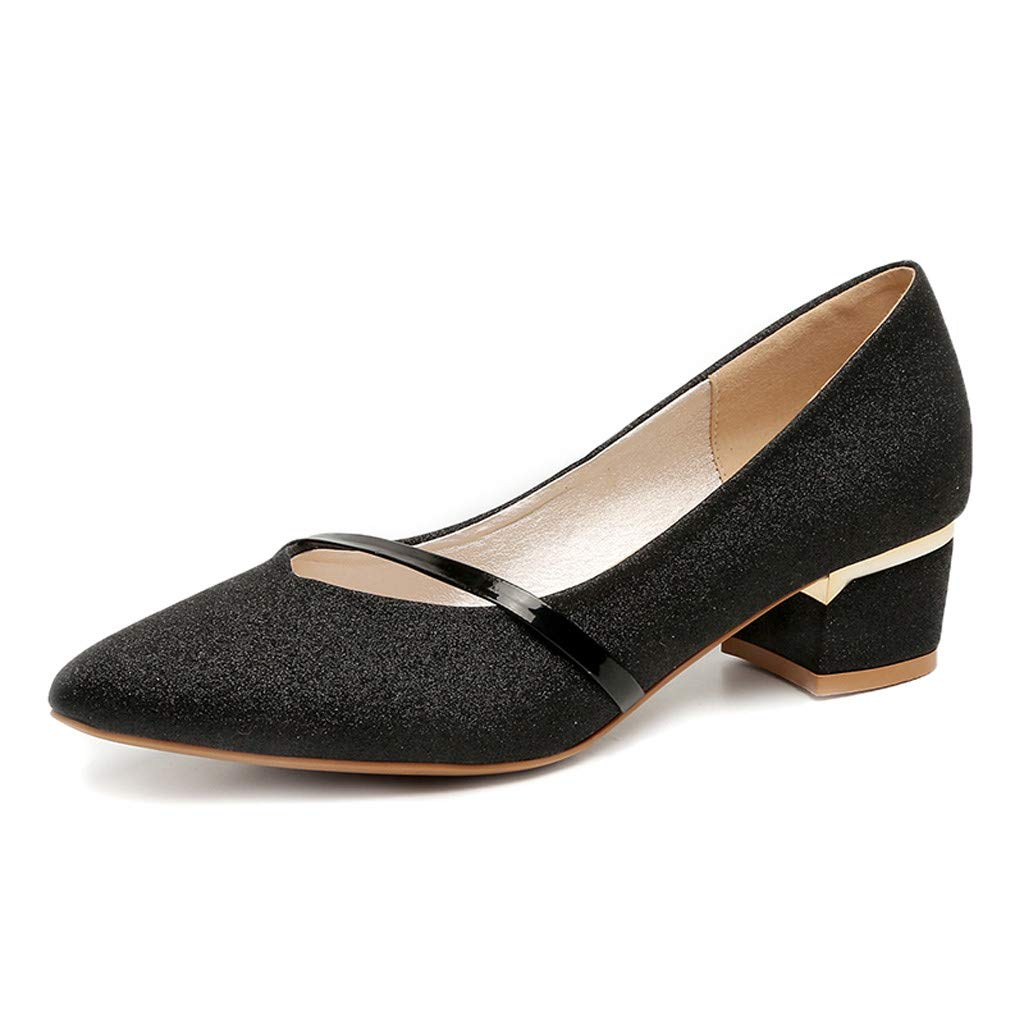 Women's Shiny Gittler Leathe Single Shoes Elegant Classic Low Heel Loafer Pointed Toe Slip On Shallow Evening Party Dress Shoes (Black, US 5.5) by Swiusd Shoes