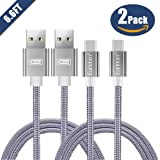 USB Type C Charger Cable, Earldom 6.6ft Nylon Braided USB A to C Fast Charging Cord for Samsung Galaxy S8 / S8 Plus / Note 8, LG V30 V20 G6 G5,Google Pixel,Nexus 6P 5X,Moto Z Z2 & More [Gray,2 Pack]