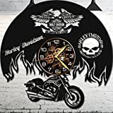 Vinyl Wall Clock – Harley Davidson Wall Clock – Vinyl Record – Harley Davidson Gifts – Harley Davidson Wall Clock Vinyl – Garage Decor For Men For Sale