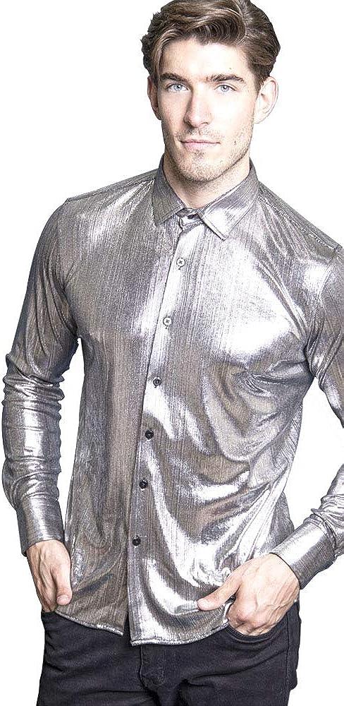 Barabas Ramseys Silver Long Sleeve Woven Metallic Top 2019 Collection