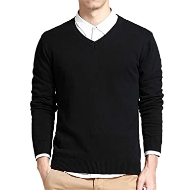 cb664c4f8e Image Unavailable. Image not available for. Color: New Brand Sweater Men V- Neck Solid Slim Fit Knitting Mens Sweaters Cardigan Male Fashion