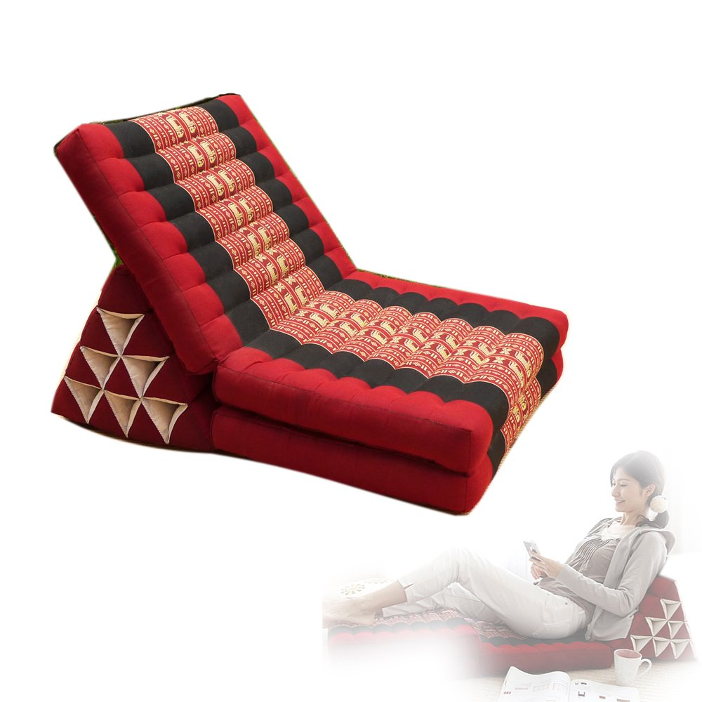 Thai Triangle Kapok Cushion Organic Pillows Floor Lounger lazy sofa chair (L, Red) by Thai OTOP