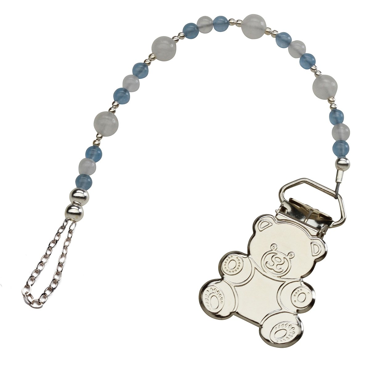 Sterling Silver Teddy Bear Binky or Pacifier Clip in Powder Blue and White (Clip is Base Metal) by Precious Pieces