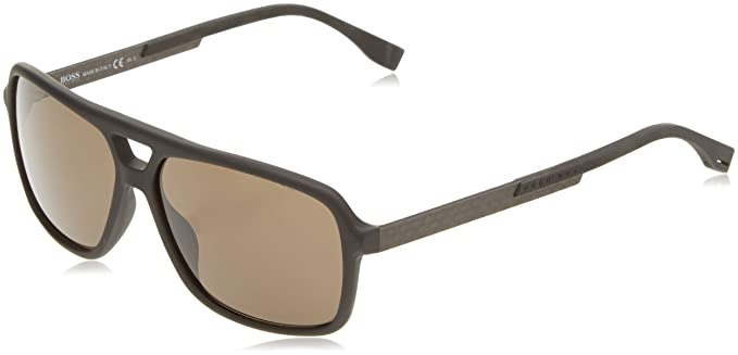BOSS Hugo Boss Hugo Boss Herren Sonnenbrille Boss 0772/S NR Hxe, Schwarz (Black Carbon/Brown Grey), 60