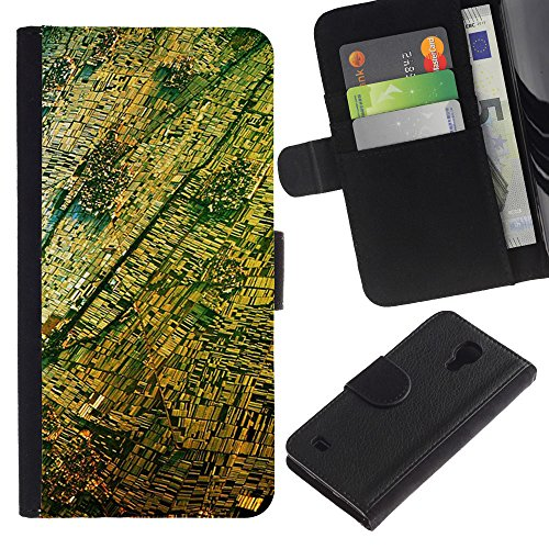 For SAMSUNG Galaxy S4 IV / i9500 / i9515 / i9505G / SGH-i337,S-type® Aerial View Photography Yellow - Drawing PU Leather Wallet Style Pouch Protective Skin - Photography Sgh