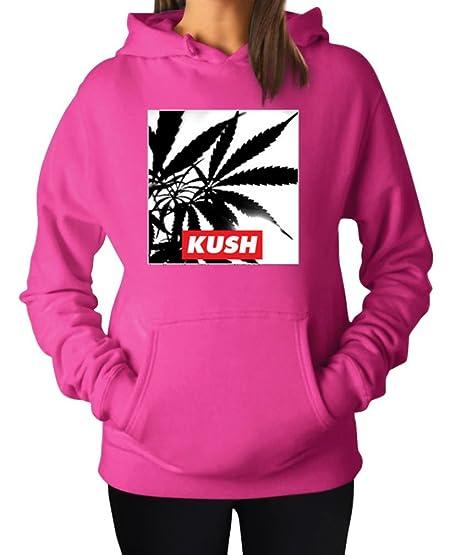Women's Weed Kush Marijuana Pot Smokers Weed Hoodie Hooded Sweater Large Fuschia