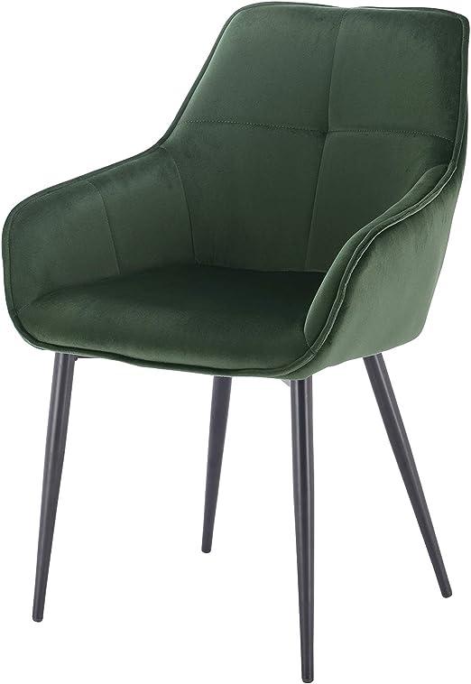 EUGAD 0357BY 1 1 Stück Esszimmerstühle Küchenstuhl Wohnzimmerstuhl Polsterstuhl mit Armlehne, Retro Design, Samt, Metall, Dunkelgrün