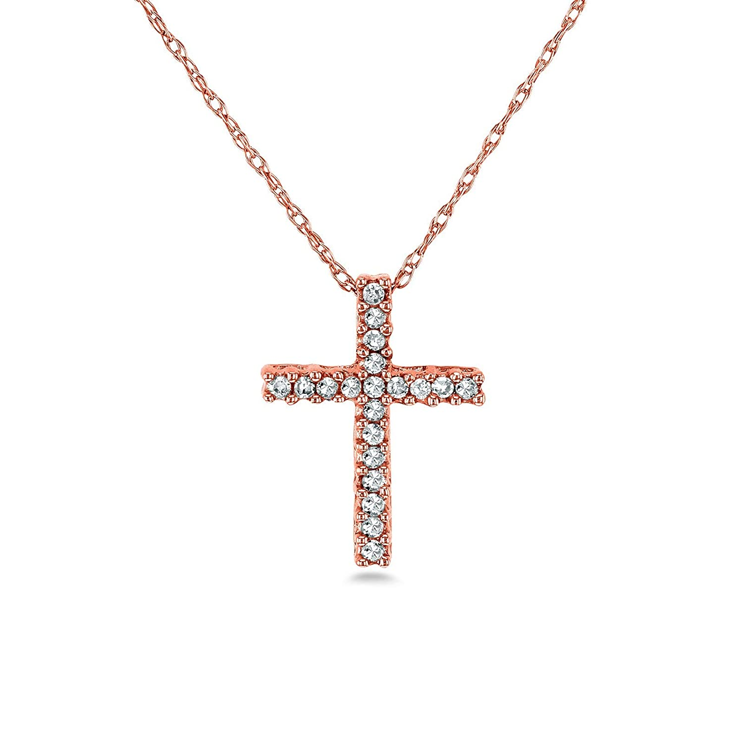 Diamond Cross Necklace 1 10 Carat TDW Shared Prongs in 10k Gold