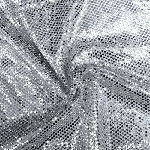 Faux Sequin Knit Fabric Shiny Dot Confetti For Sewing Costumes Apparel Crafts By The Yard 1 Yard Silver