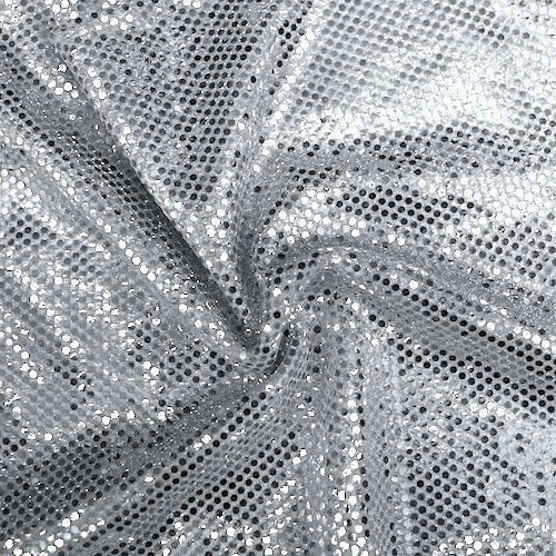 Faux Sequin Knit Fabric Shiny Dot Confetti for Sewing Costumes Apparel Crafts by the Yard (1 YARD, Silver)