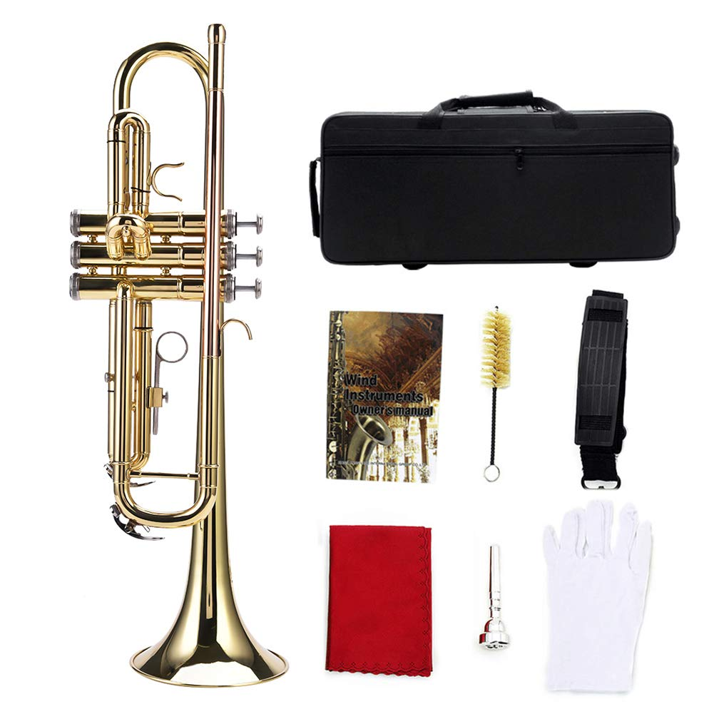 Gold Trumpet Brass, Bb Trumpet Set Brass Trumpet Instrument Set Kit with Full Accessories For Student Beginner (Gold)