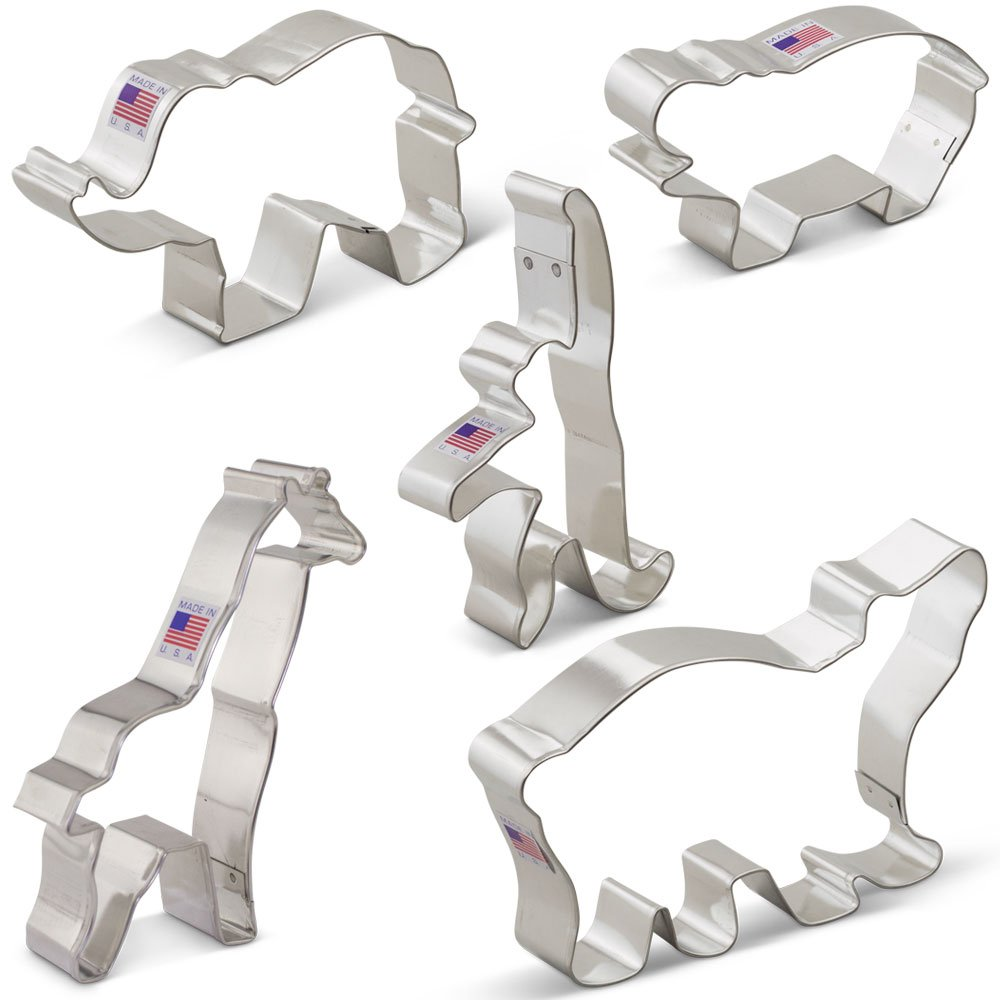 Zoo Animals Cookie Cutter Set - 5 piece -Extra Large- Elephant, Giraffe, Hippo, Polar Bear, Monkey - Ann Clark - US Tin Plated Steel