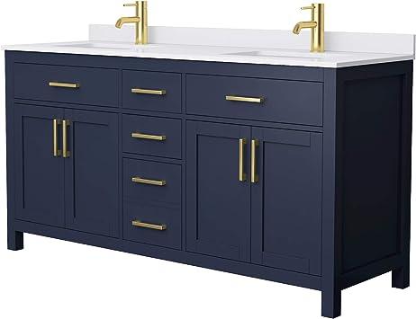 Beckett 66 Inch Double Bathroom Vanity In Dark Blue White Cultured Marble Countertop Undermount Square Sinks No Mirror Amazon Com
