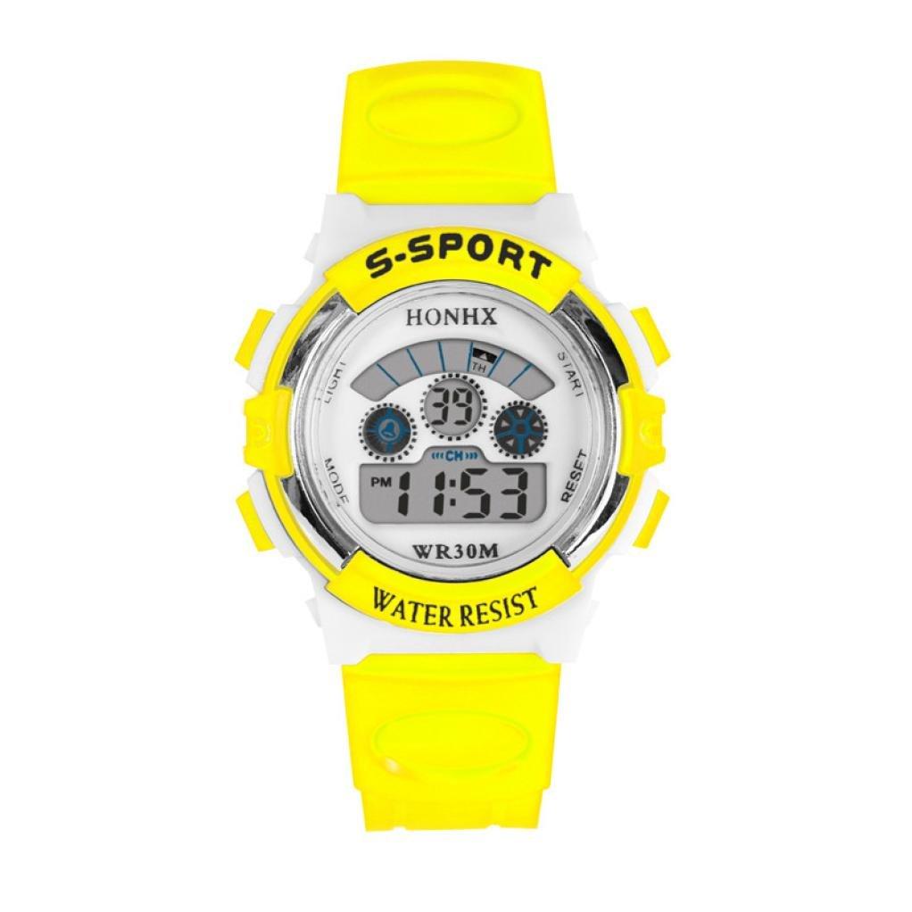 Hemlock Girls Boys Waterproof LED Digital Calendar Watches Silicone Alarm Sports Wrist Watch Yellow