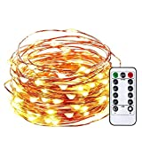 decorating fireplace mantels Qedertek Battery Christmas String Lights, 33ft 100 LED Fairy Lights, Remote Control LED String Lights, Copper Wire Starry Lights for DIY, Wedding, Bedroom Xmas and Valentine's Decoration(Warm White)