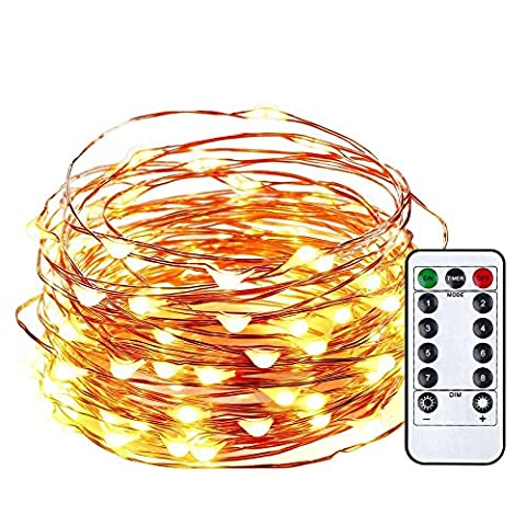 Qedertek Battery Operated Starry String Lights, 33ft 100 LED Starlit Lights with Remote Control, Copper Wire Fairy Lights for Home, Garden, Party, Wedding Decorations(Warm - Frame One Light