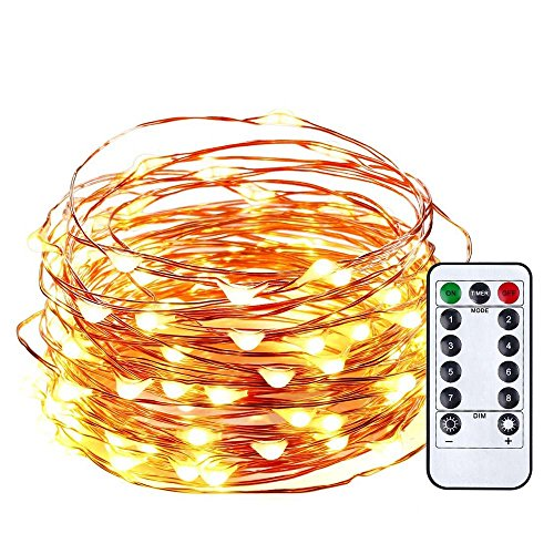 Qedertek Battery Christmas String Lights, 33ft 100 LED Fairy Lights, Remote Control LED String Lights, Copper Wire Starry Lights for DIY, Wedding, Bedroom Xmas and Valentine's Decoration(Warm White)