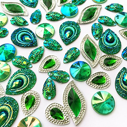 Mixed Shapes Stunning Green With Silver Edge Gems Sew On Rhinestones Faceted Flatback Crystal for DIY Crafts 50pcs Decoration