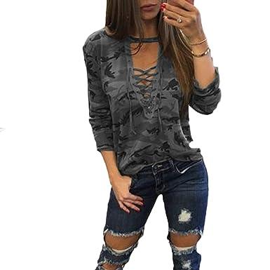 3df7ad5ffe91 Mujer Camisetas Manga Larga Originales Basicas Camuflaje Tops Elegantes  Moda Fiesta V Cuello Primavera Otoño Militares Tallas Grandes Blusas con ...