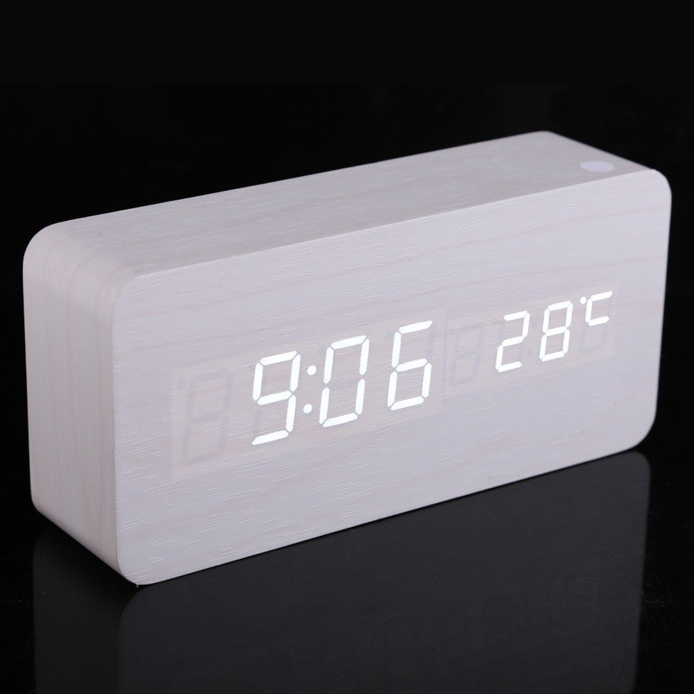 Amazon.com: Coondmart LED Wooden Alarm Clock, Digital Watch Despertador Desktop Saat Clock,reloj Table Alarm Clock AAA/USB: Home Audio & Theater