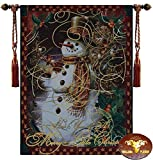 Beautiful Christmas Snowman Fine Tapestry Jacquard Woven Wall Hanging Art Decor
