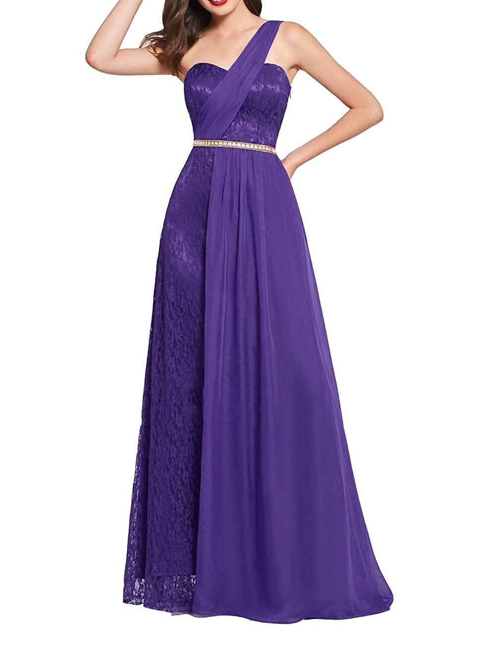 Uther Long Prom Dress One Shoulder Lace Chiffon Bridesmaid Dresses A-Line Evening Gown