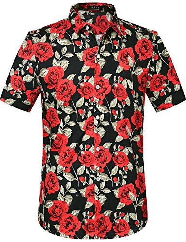 SSLR Men's Summer Rose Prints Button Down Short Sleeve Shirt