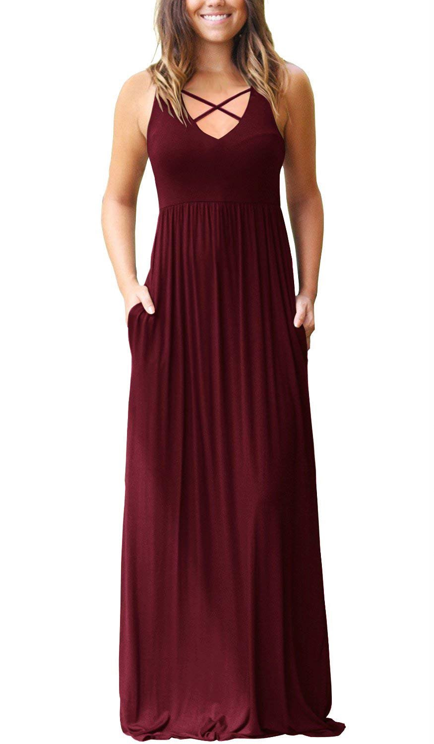 LONGYUAN Women's Maxi Dress with Crisscross V Neck and Side Pockets Long Dresse Wine Red XX-Large