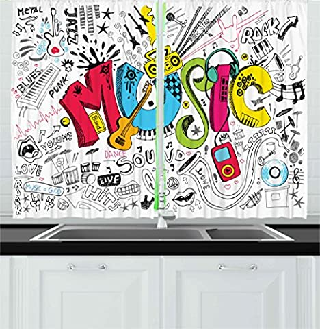 Music Kitchen Curtains by Ambesonne, Pop Art Featured Doodle Style Musical Background with Instruments Sound Art Illustration, Window Drapes 2 Panels Set for Kitchen Cafe, 55 W X 39 L Inches, Multi