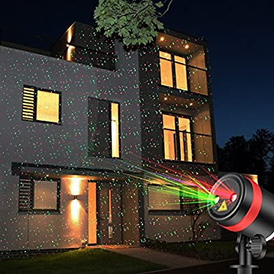 SKONYON Laser Christmas Lights Show Red and Green Star IP65 Waterproof Outdoor Laser Light Projector with Remote for Christmas, Holiday, Party, Landscape, and Garden Decoration