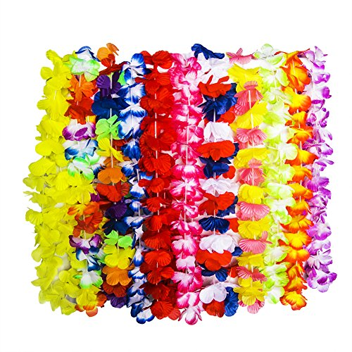 WeeCosy 12 Counts Tropical Hawaiian Leis and Necklace Luau Flower Party Favors(One Dozen) -