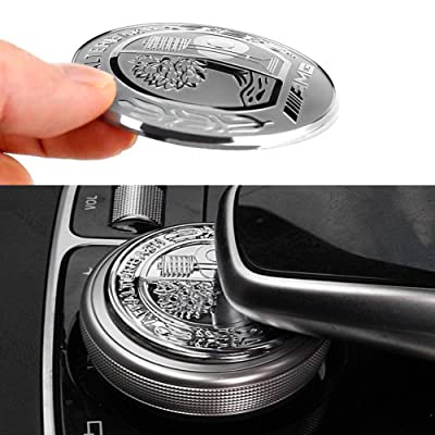 MAXDOOL AMG Metal Modified Center Console Multimedia Control Button Knob Trims Cover Emblems Stickers for Mercedes Benz A B E GLK GLA CLA GLE ML GL Class (47mm Knob): Automotive