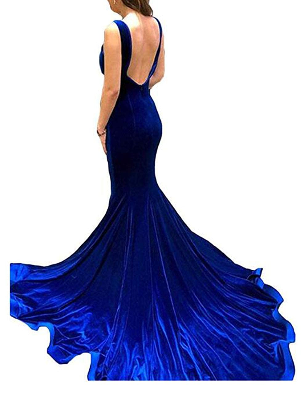 Royal bluee alilith.Z Sexy Spaghetti Strap Velvet Prom Dresses Mermaid Long Formal Evening Dresses Party Gowns for Women with Slit