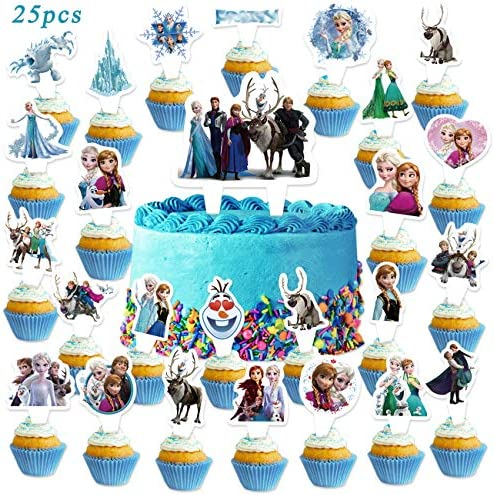 25PCS Froze_n Cake Toppers Disne_y Princess Cupcake Toppers Party Supplies for Kids Happy Birthday Party Decorations