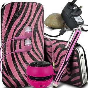 ONX3 Huawei Ascend G525 Protective PU Leather Slip Zebra cable de tracción en la bolsa del lanzamiento rápido con Mini capacitivo Stylus Pen, 3.5mm en auriculares del oído, mini altavoz recargable Cápsula, Micro USB CE aprobó 3 Pin Cargador (Rosa y Negro)