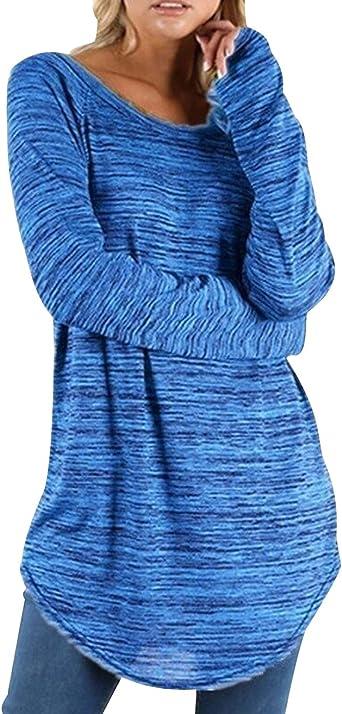 Camisetas Manga Larga Mujer Oversize Largas Camiseta Basica Tops Tunica Playeras Anchas Jersey Camisa Blusa Túnica Tunicas Poleras Camisas Señora Blusas Tallas Grandes Casual Deportivas: Amazon.es: Ropa y accesorios