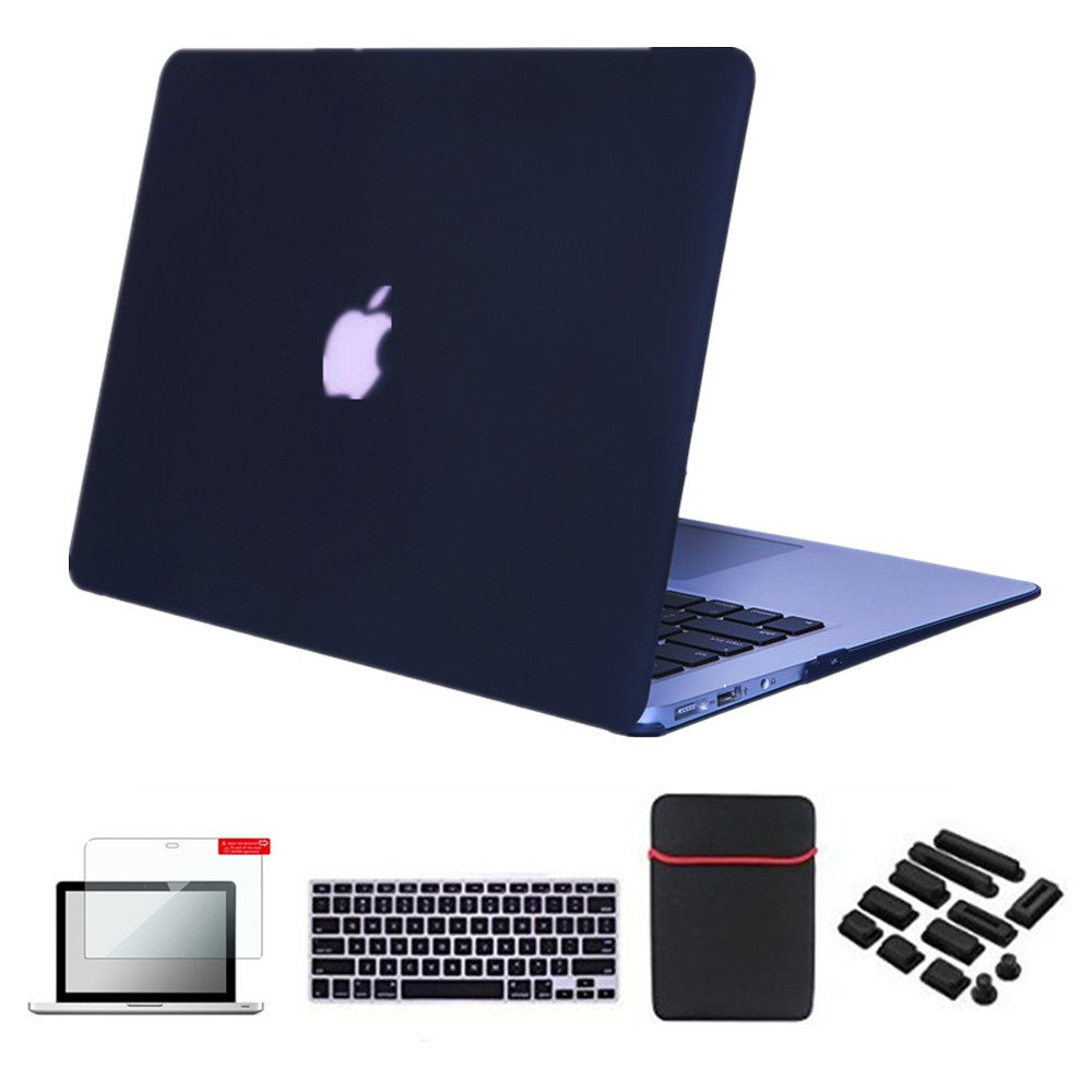 "Se7enline Macbook Air Case Cover 5 In 1 Bundle Soft Touch Plastic Hard Case Cover For Macbook Air 13.3"" A1369/A1466 Sleeve Bag,Silicone Keyboard Protector, Lcd Screen Protector,Dust Plug, Black by Se7enline"