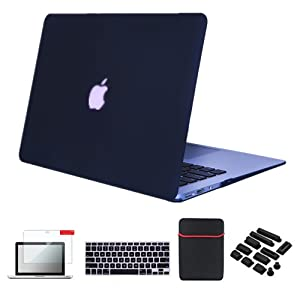 Se7enline MacBook Pro 15 Case Smooth Soft-Touch Matte Plastic Hard Cover for MacBook Pro 15 inch A1398 with Retina Display with Sleeve Bag, Keyboard Cover Skin, Screen Protector, Dust Plug, Black