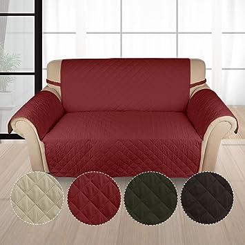 Auralum Funda Sofá 2 Plaza Cubre de Sillón Protector para Sofás Muebles Acolchado Anti-ensucia para Mascotas (Vino Rojo): Amazon.es: Hogar