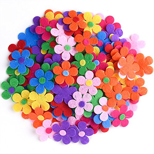 Coopay 120 Pieces Felt Flowers Fabric Flower Embellishments Assorted Colors for DIY Crafts