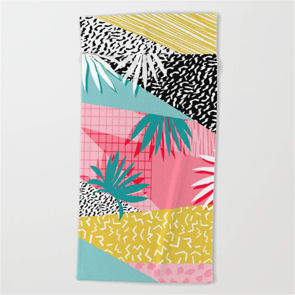 Feesoz Bingo - Throwback Retro Memphis neon Tropical SoCal Desert Festival Trendy Hipster Pattern pop Art Beach Towel 31x51 Inches